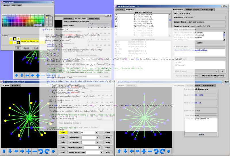 Various screenshots of 3D Network Visualiser